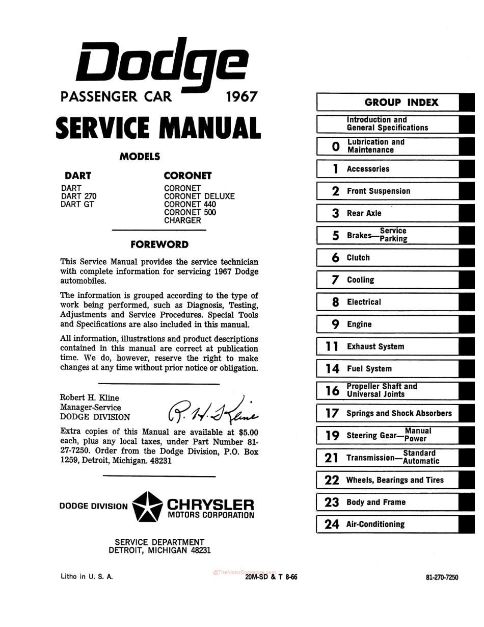 1967 Dodge Charger, Coronet, Dart Factory Service Manual | OEM 81-270-7250The Motor Bookstore