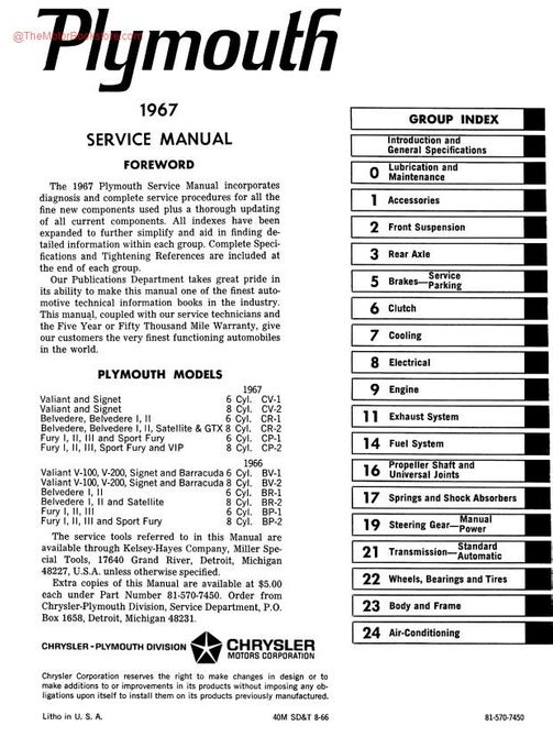 1967 Plymouth Factory Service Manual Barracuda Fury Etc