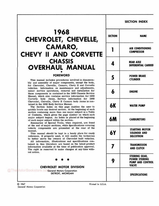 1968 Chevy Car Chassis Overhaul Manual