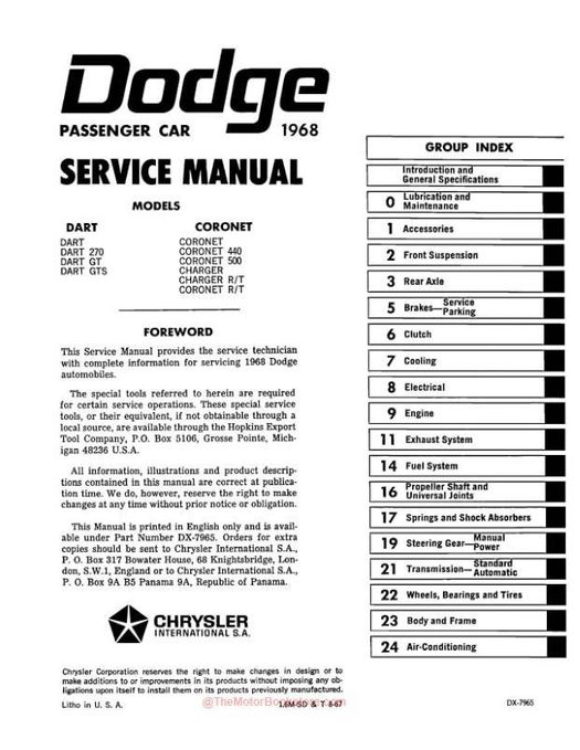 1968 dodge charger  coronet  dart factory service manual