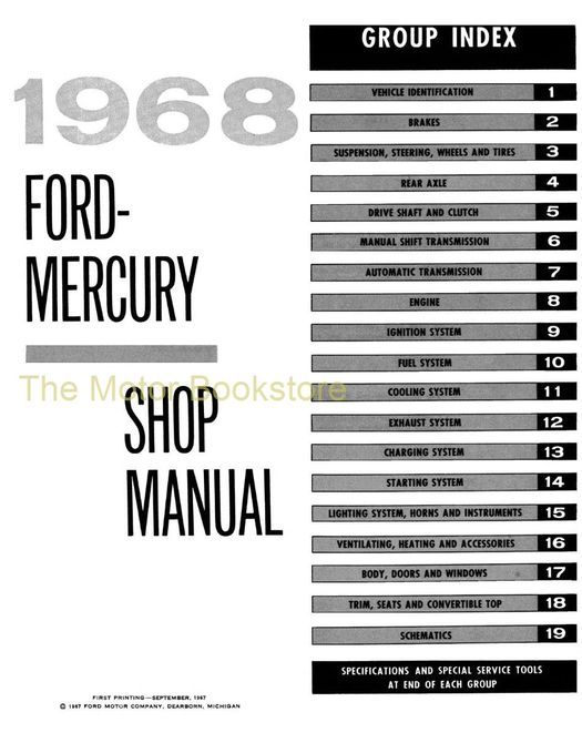 1968 Ford and Mercury Factory Shop Manual