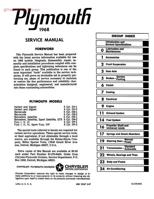 1968 Plymouth Factory Service Manual