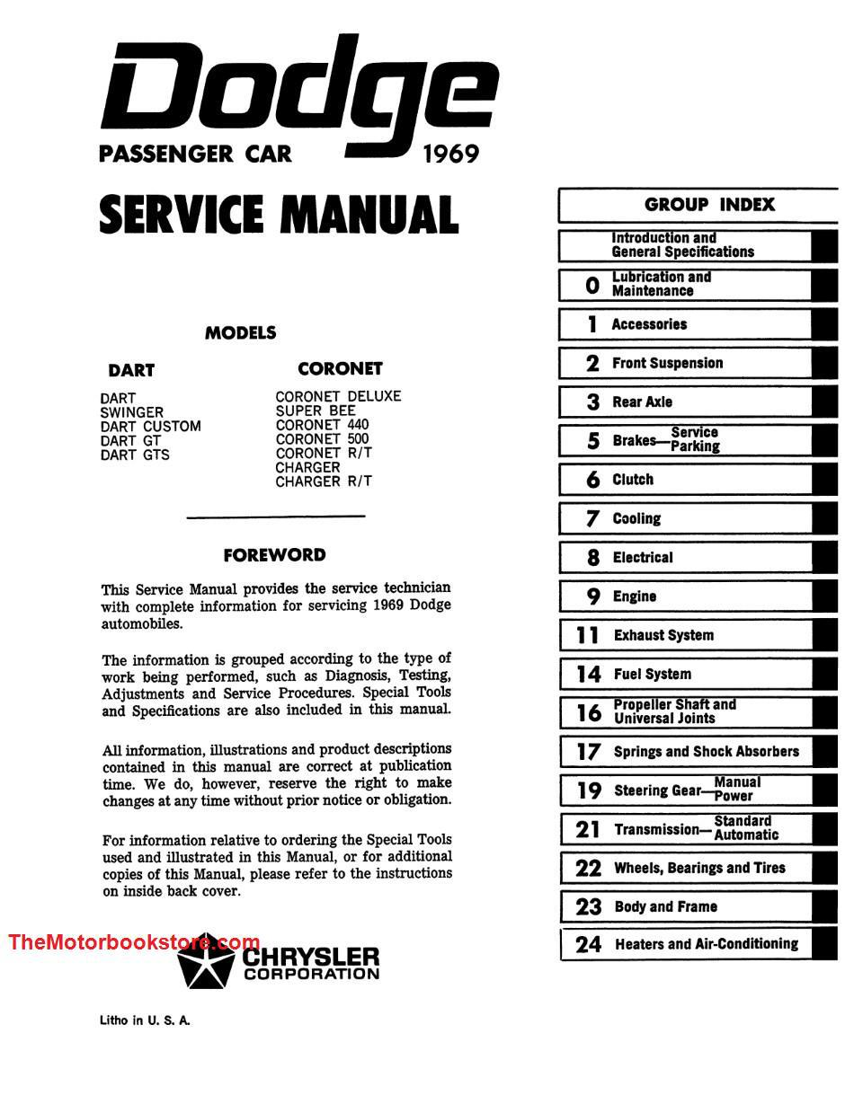 1969 Dodge Charger Coronet And Dart Service Manual