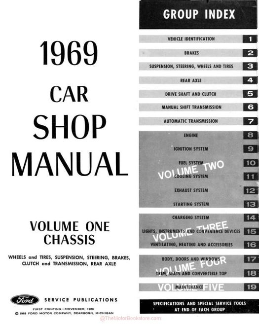 1969 Ford Car Shop Manual - 5 Volumes
