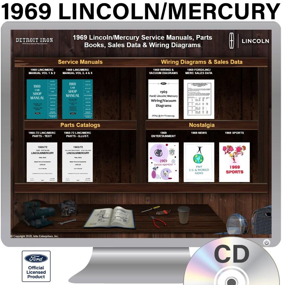 1969 Ford Lincoln Mercury Factory Oem Shop Manuals On 2 Cds Pdf Format