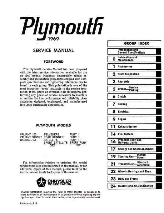 1969 Plymouth Factory Service Manual
