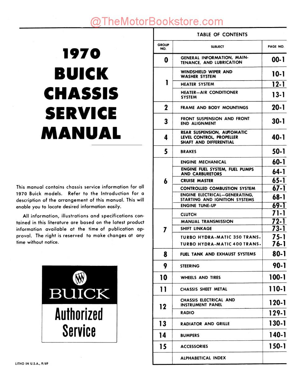 1970 Buick Chassis Service Manual Oem Service Repair Book
