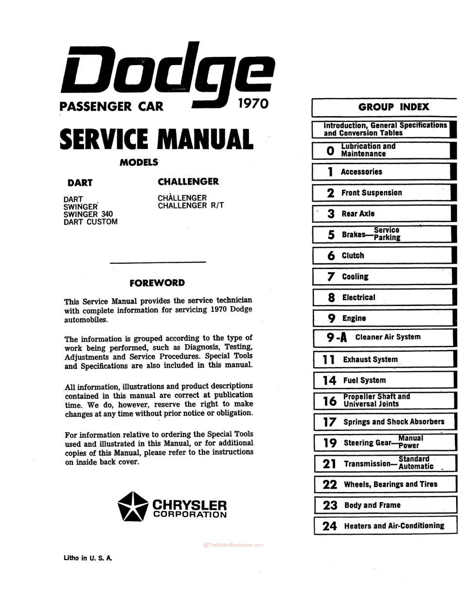 1970 Dodge Challenger, Dart Service Manual