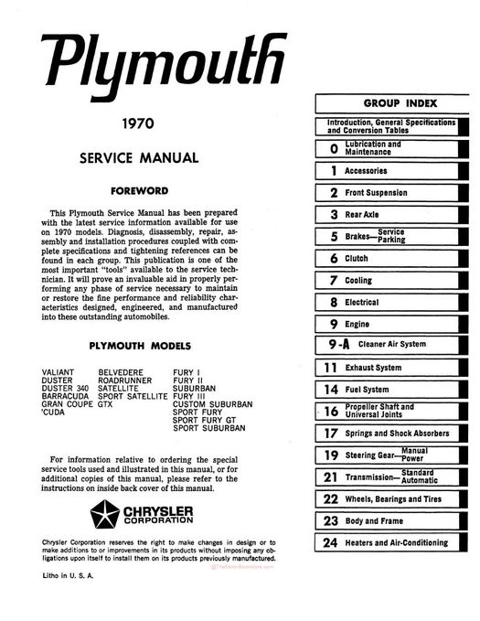 1970 plymouth service manual  fury  barracuda  valiant  belvedere