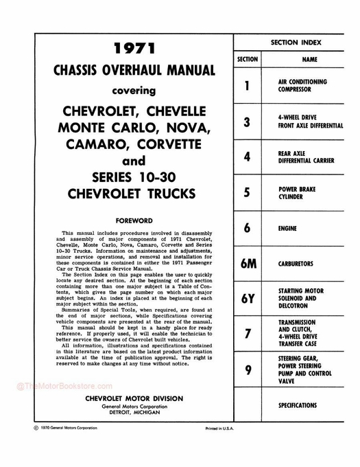 1971 Chevy Car / Truck Chassis Overhaul Manual