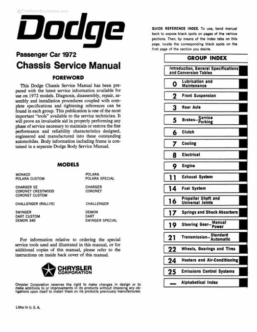 1972 Dodge Challenger Dart Charger Coronet Service Manual
