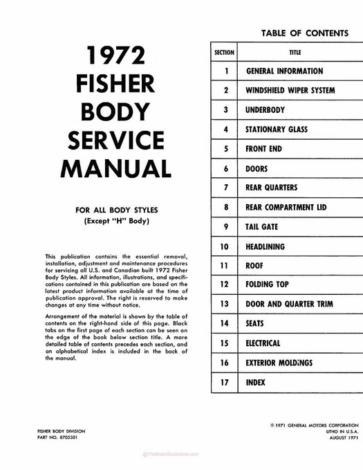 1972 Fisher Body Service Manual - For All Body Styles (Except \