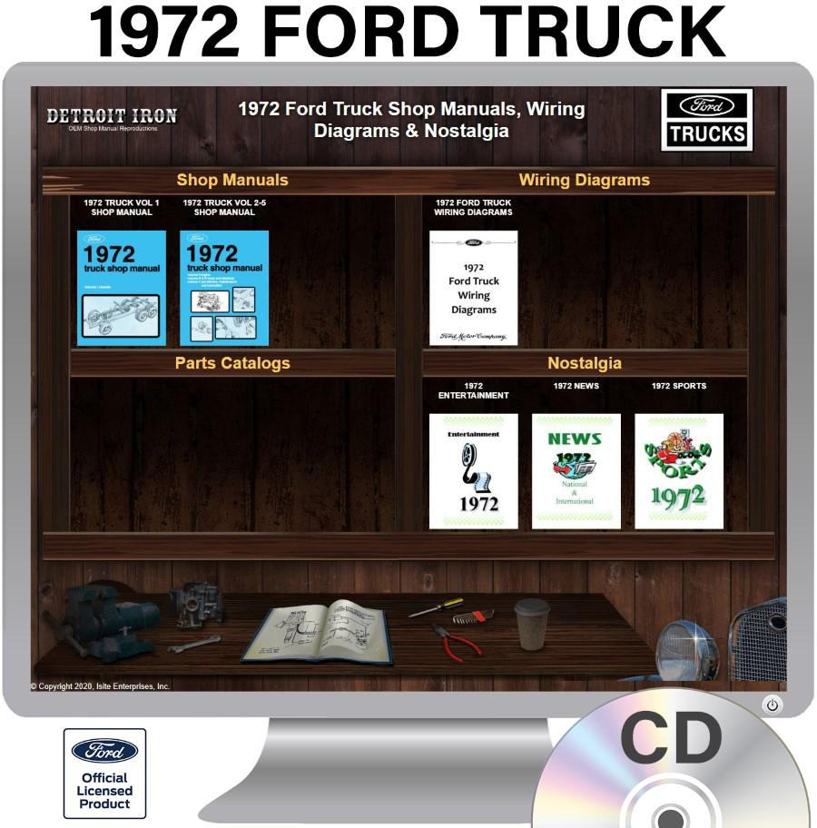 1972 Ford Truck Factory Oem Shop Manuals On Cd Pdf Format