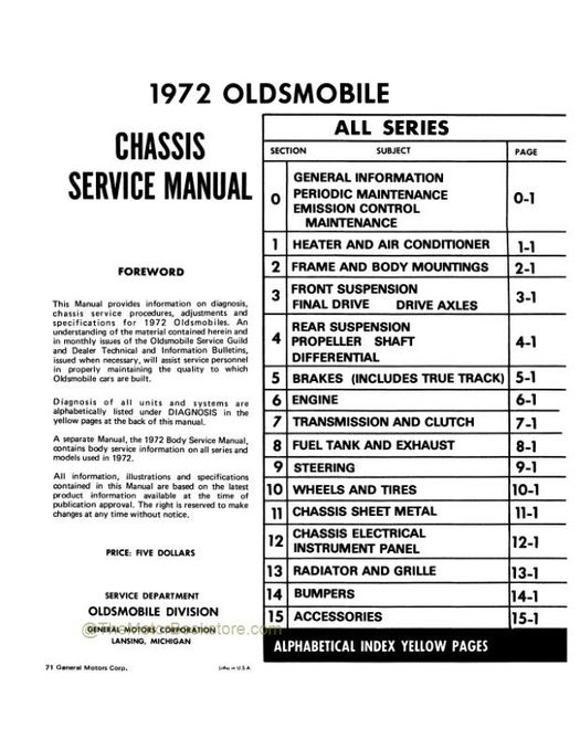 1972 Oldsmobile Chassis Service Manual