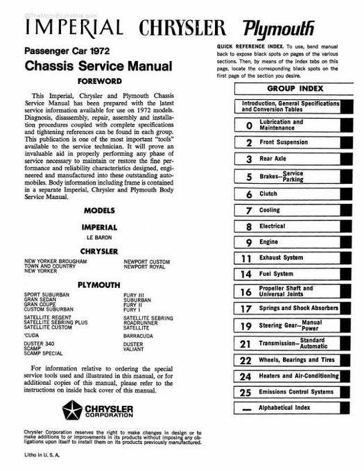1972 Plymouth, Chrysler, Imperial Chassis Service Manual