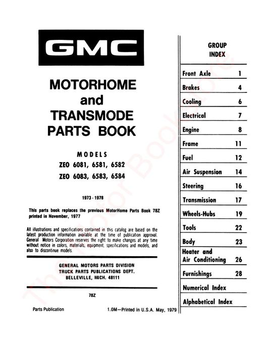 1973-1978 GMC Motorhome Parts Book