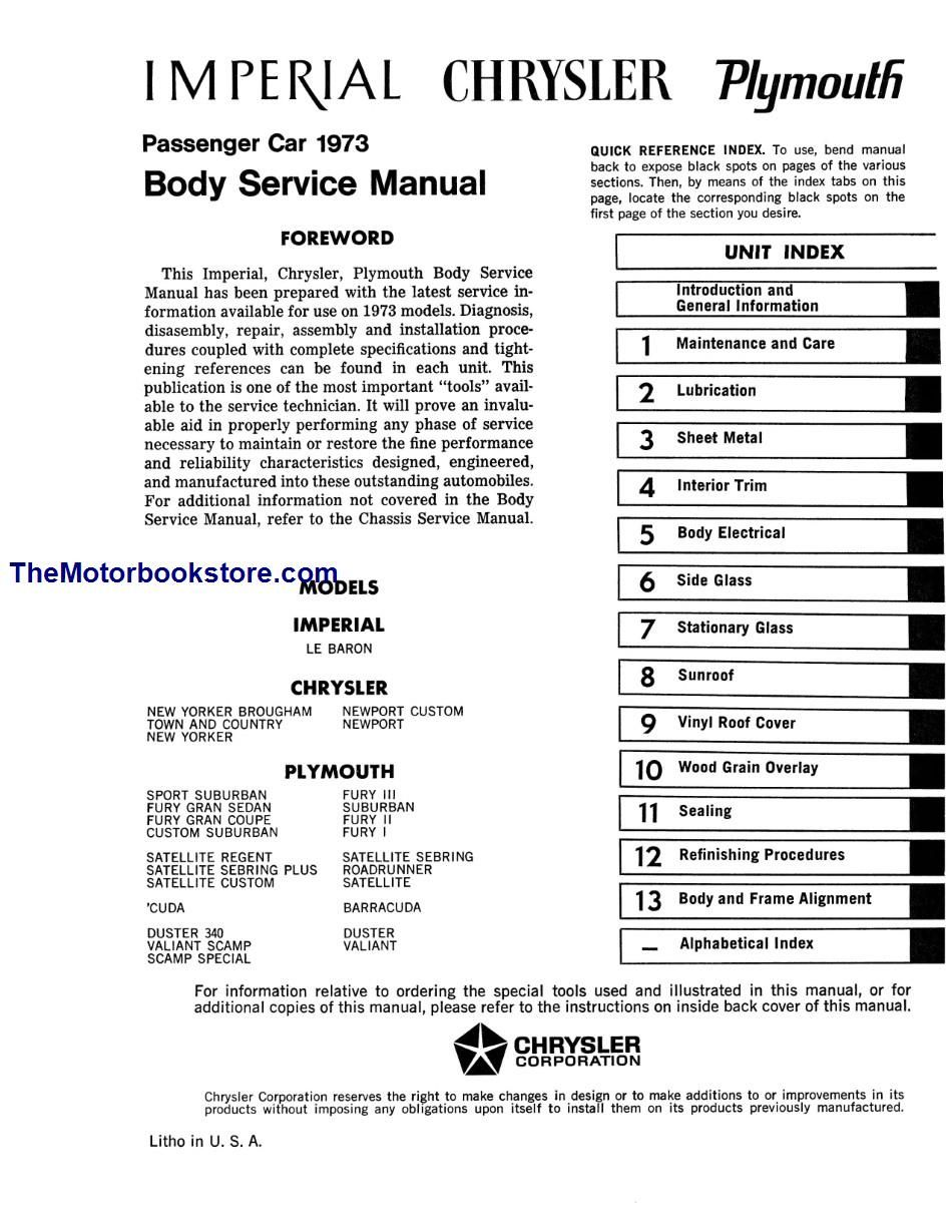 1973 Plymouth  Chrysler  Imperial Body Service Manual
