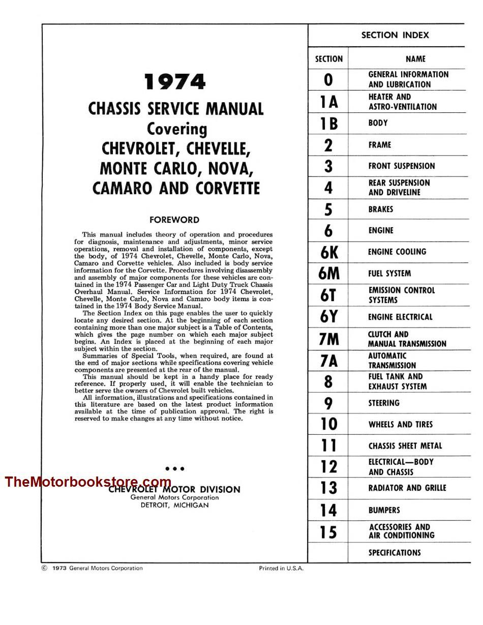 Other Car Manuals 1974 CHEVROLET MONTE CARLO/SS OWNER'S MANUAL ...