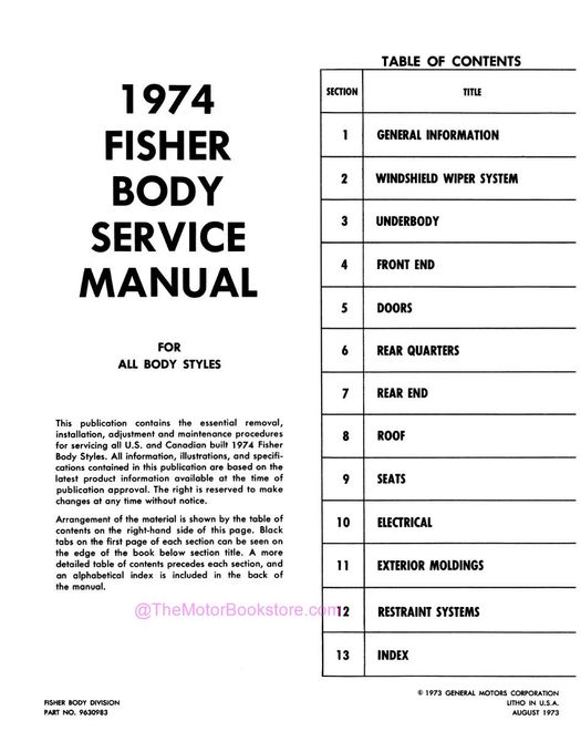 1974 Fisher Body Service Manual