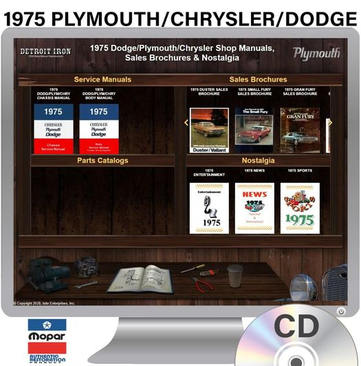 1975 Plymouth / Chrysler / Dodge OEM Manuals - CD