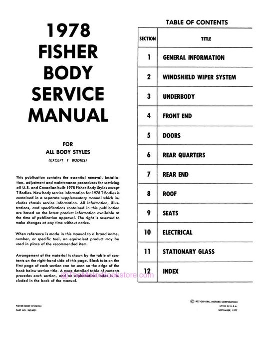 1978 Fisher Body Service Manual