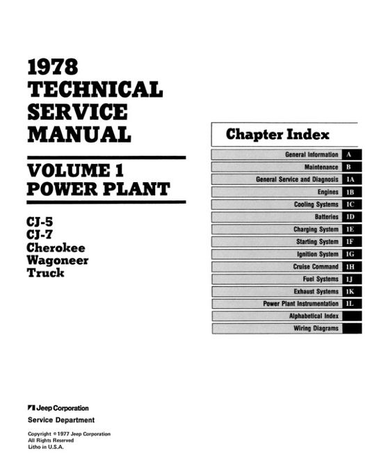 1978 Jeep Technical Service Manual (3 Volumes)