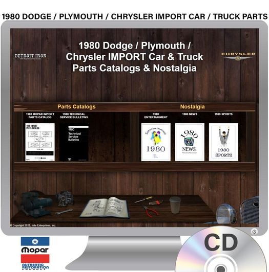 1980 Dodge / Plymouth / Chrysler�Import�Car / Truck Parts OEM Manuals - CD