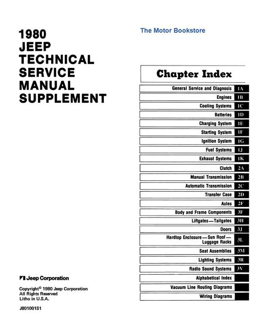 1980 Jeep Technical Service Manual Supplement  2 5l  Cj