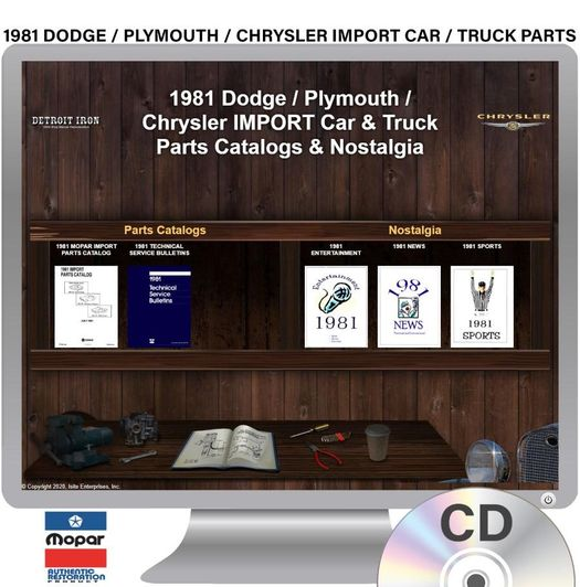 1981 Dodge / Plymouth / Chrysler IMPORT Parts OEM Manuals - CD
