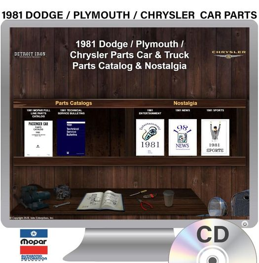 1981 Dodge / Plymouth / Chrysler Parts OEM Manuals - CD