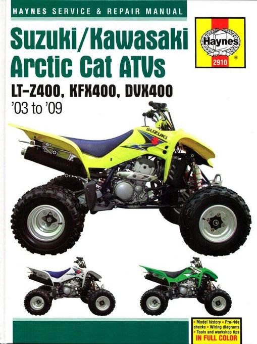 Suzuki LT-Z400, Kawasaki KFX400, Arctic Cat DVX400 Repair Manual 2003-2009