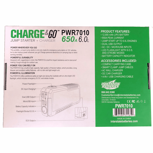 Interstate Portable Power Supply & Jump Starter Charge & Go