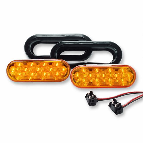 """LED 6.5"""" OVAL SELF CONTAINED AMBER STROBE LIGHT KIT"""