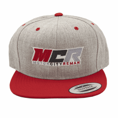 MCR OFFICIAL HAT LIGHT GREY & RED WOOL LOGO YUPOONG CLASSIC FLAT BRIM