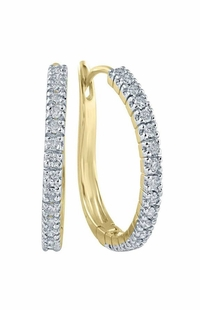 0.5 TCW Diamond Hoop Earrings on 10k Yellow Gold