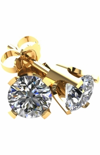 1.0 TCW Diamond Stud Yellow Gold Earrings 3PE100YG
