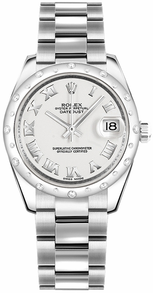 Rolex Datejust 31 White Roman Numeral Women's Watch 178344