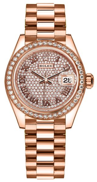 Rolex Lady-Datejust 28 Pave Everose Gold President Women's Watch 279135RBR