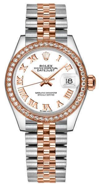 Rolex Lady-Datejust 28 White Dial Diamond Jubilee Women's Watch 279381RBR