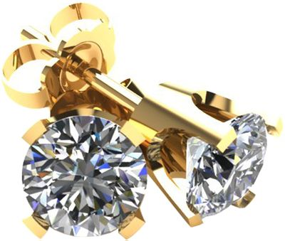 .33 TCW Diamond Stud Solitaire Yellow Gold Earrings 3PE33YG