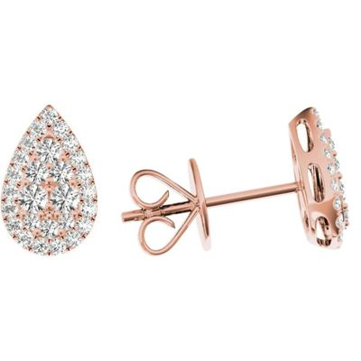 .33 TCW Rose Gold Diamond Halo Pave Earrings E20238R