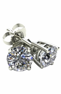 Diamond Stud White Gold Basket Setting Earrings .4 TWC