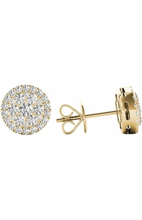 .43 TCW Yellow Gold Diamond Halo Pave Earrings E20236Y