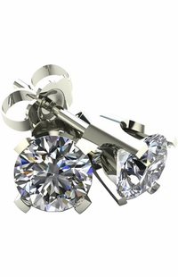 .50 TCW Diamond Stud Solitaire White Gold Earrings 3PE50WG
