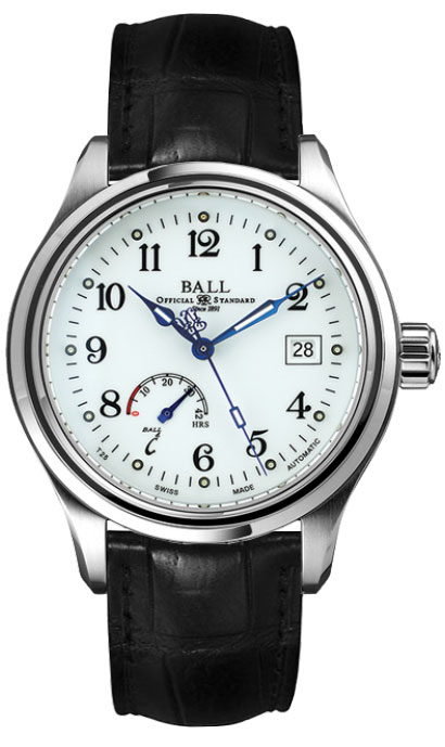 "NM1056D-L1J-WH  NEW BALL TRAINMASTER POWER RESERVE AUTOMATIC MEN'S CASUAL WATCH FOR SALE  In Stock - Immediate Delivery Available  - Free Overnight Shipping | Lowest Price Guaranteed - No Sales Tax (Outside California) - With Manufacturer Serial Numbers  - Swiss Made  - Enamel White Dial  - Arabic Numeral Hour Markers  - Date Feature  - Power Reserve Indicator - 42 Hour Power Reserve  - Self-winding Automatic Movement  - Ball Caliber RR1702 - Lifetime Warranty Included ($295 Value)  - Guaranteed Authentic  - Certificate of Authenticity  - Manufacturer Box & Manual  - Brushed with Polished Stainless Steel Case  - Black Leather Strap with Crocodile Pattern - Scratch Resistant Sapphire Crystal  - 50 Meters / 165 Feet Water-Resistant  - 41mm = 1 5/8"" Case, 7"" Adjustable Strap - Case Thickness: 12.6mm - Fixed Bezel  - Sapphire Crystal Exhibition Case Back  - Luminescent Hands & Hour Markers  - Screw Down Crown - Stainless Steel Tang Buckle     Ball Trainmaster Power Reserve NM1056D-L1J-WH"