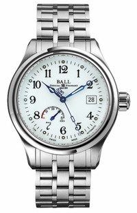 Ball Trainmaster Power Reserve White Dial Men's Watch NM1056D-S1J-WH
