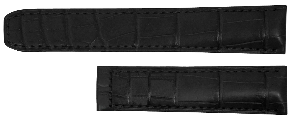 "MX001G36 |  MX001G36 NEW BAUME et MERCIER BLACK CROCODILE PATTERN STRAP In Stock   - Free Shipping     - No Sales Tax (Outside California)  - 7"" Black Leather Replacement Band with Alligator Pattern  - Designed for a 16mm Deployment Buckle - Buckle Sold Separately - Fits All Baume et Mercier Models with 18 mm Inlet"