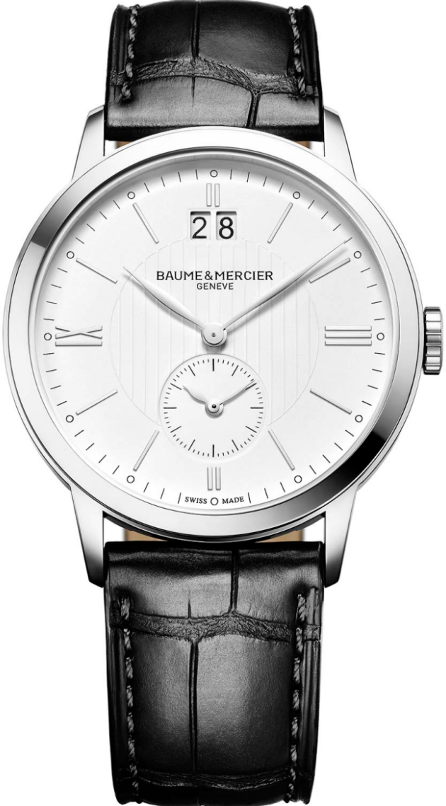 "10218 | MOA10218  NEW BAUME et MERCIER CLASSIMA DUAL TIME MEN'S LUXURY WATCH In Stock - Immediate Delivery Available   - Free Overnight Shipping | Lowest Price Guaranteed - No Sales Tax (Outside California) - With Manufacturer Serial Numbers - Swiss Made  - Guilloche White Dial  - Roman Numeral & Index Hour Markers - Polished Stainless Steel Bezel - Big Date Feature - GMT Second Time Zone Feature - Battery Operated Quartz Movement  - Lifetime Warranty Included ($295 Value)  - Guaranteed Authentic  - Certificate of Authenticity  - Manufacturer Box & Manual  - Polished Stainless Steel Case  - Black Leather Strap with Crocodile Pattern  - Scratch Resistant Sapphire Crystal  - 50 Meters / 165 Feet Water-Resistant  - 40mm = 1 1/2"" Case, 7"" Adjustable Strap  - Case Thickness: 8.75mm  - Fixed Bezel  - Solid Case Back - Push & Pull Crown  - Stainless Steel Tang Buckle  - Free Lifetime Battery Replacement   &nbsp &nbsp"