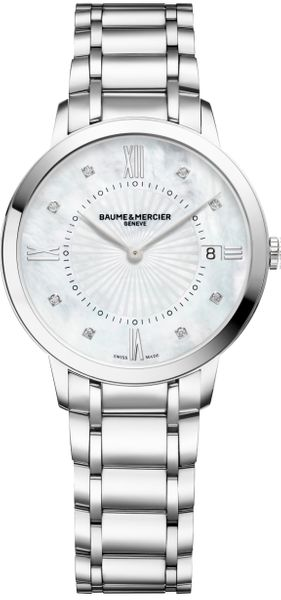 Baume & Mercier Classima Pearl White & Diamond Dial Women's Watch 10225