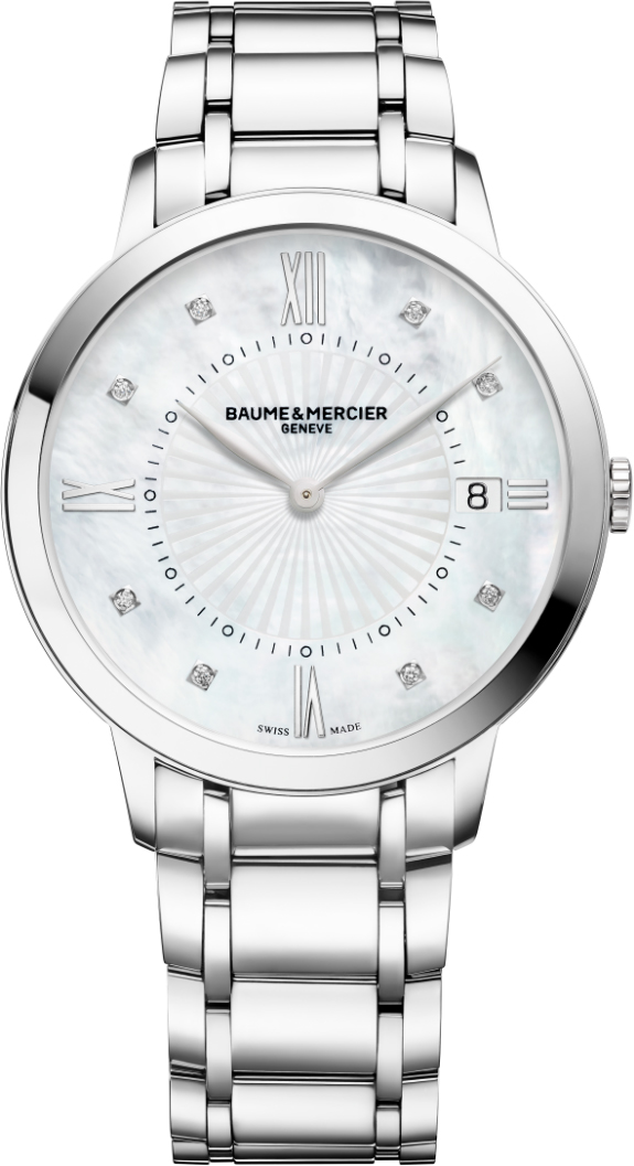 "10225 | MOA10225  NEW BAUME et MERCIER CLASSIMA WOMEN'S LUXURY FASHION WATCH  In Stock - Immediate Delivery Available   - Free Overnight Shipping | Lowest Price Guaranteed - No Sales Tax (Outside California)  - With Manufacturer Serial Numbers - Swiss Made  - Sunray Mother of Pearl White Dial Set with Diamonds  - Diamond & Silver Toned Roman Numeral Hour Markers - 8 Diamonds Set on Dial (0.03ct) - Date Feature  - Battery Operated Quartz Movement  - 3 Year Warranty  - Guaranteed Authentic  - Certificate of Authenticity  - Manufacturer Box & Manual  - Polished Stainless Steel Case  - Polished Stainless Steel Bracelet - Scratch Resistant Sapphire Crystal  - 50 Meters / 165 Feet Water-Resistant  - 36.5mm = 1 1/2"" Case, 6"" Adjustable Bracelet  - Case Thickness: 6mm  - Inlet Size: 18mm  - Fixed Bezel - Push & Pull Crown   - Stainless Steel Push Button Double Folding Deployment Buckle  - Free Bracelet Sizing  - Free Lifetime Battery Replacement   &nbsp &nbsp"